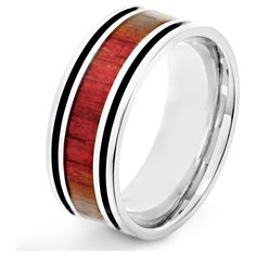 Men's West Coast Jewelry Men's Stainless Steel Red Wood Inlay and... ($19) ❤ liked on Polyvore featuring men's fashion, men's jewelry, men's rings, jewelry & watches, rings, mens wood ring, mens rings, mens wooden rings, mens stainless steel rings and mens watches jewelry
