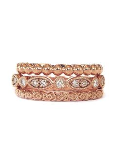 Rose gold and diamonds - the perfect ring stack.