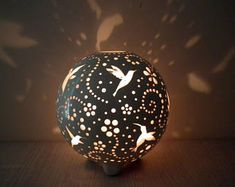 Ceramic Outdoor Lantern Hummingbirds Round Lamp Christmas Gift For Her Table Centerpiece White Boho Candle Patio Decor Tealight Holder