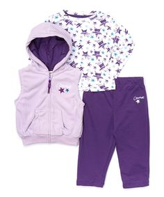 Another great find on #zulily! Purple 'Converse' Hooded Vest Set - Infant by Converse #zulilyfinds