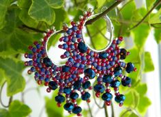 """Earrings """"Juicy grape"""" OOAK lasy hoop earrings with small fringle! Red, blue, cobalt, silver beads. Elegant rounded shape, saturated colors!"""