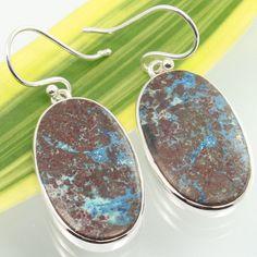 Natural AZURITE MALACHITE Gemstones Earrings 925 Sterling Silver Wholesale Price #SunriseJewellers #DropDangle