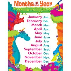 Months of Year Dino-Mite Pals Learning Chart (T-38482) #classroom #decor #AILtyler