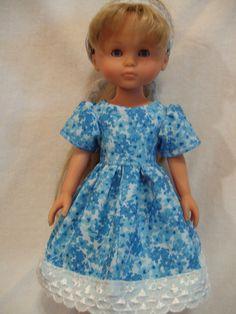Corolle Les Cheries Doll Clothes, Blue Garden Dress, fits 13-14inch slim Dolls