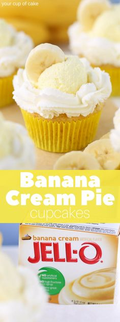 Easy banana cake topped with whipping cream and banana pudding mousse, these Banana Cream Pie Cupcakes are fluffy pieces of heaven! Ultimate Banana Cream Pie Cupcakes These cupcakes are so easy to m Banana Cream Cupcakes, Easy Banana Cream Pie, Banana Pudding Cupcakes, Pudding Frosting, Banana Frosting, Banana Pie, Frosting Recipes, Cupcake Recipes, Cupcake Cakes