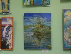Купить Старая крепость - оранжевый, Батик, картина, картина батик, пейзаж, крепость, отражение, подарок