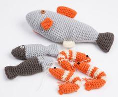 Crevettes, sardines et saumon au crochet