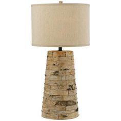 Horizon Birch Bark Natural Linen Table Lamp  #lampsplus and #mystyle