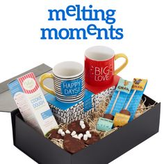 Melting Moments Gift Box - Because chocolate is always a good idea!  * Delect Gourmet Cookie Dough - Simply slice and bake! 290g - makes 10-11 cookies. Gnaw Milk Hot Choc Shot & Marshmallows 50g *Gnaw Caramel Hot Choc Shot & Marshmallows 50g *Happy Jackson 'Big Love' Mug in gift box *Happy Jackson 'Happy Days' Mug in gift box