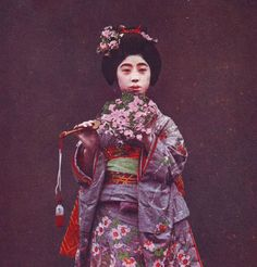 """Japanese girl with colorful dress and """"sensu"""". Antique postcard. RPPC"""