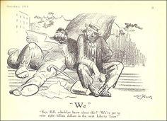 A Man of Family: Liberator Magazine Art, Oct 1918, pg 21 Artist: Art Young, political cartoon about the Liberty Loan Program