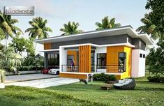 This elevated One storey house concept design has 3 bedrooms and 3 baths readily available to be accommodate by a medium-sized family. Two-car garage is situated at the left side where you can access Online Architecture, Architecture Magazines, Residential Architecture, Amazing Architecture, Architecture Design, Single Storey House Plans, One Storey House, Lofts, Front Elevation Designs