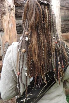 One Natural Brown Dreadlock Felted Double Ended by tinkertailoruk