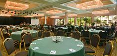 Ballroom at Kauai Beach Resort.  Capiz chandeliers add that island flair!