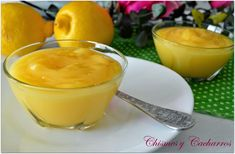 Crema de limón Salsa Curry, Fondant, Deserts, Food And Drink, Pudding, Bliss, Bread Crumbs, Easy Desserts, Pastries