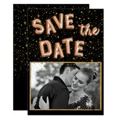Unique Black Gold Foil Balloon Text Save the Date Card - wedding invitations diy cyo special idea personalize card