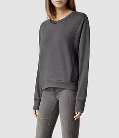 AllSaints - Womens Cari Leather Sweater