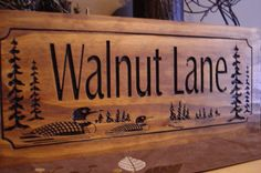 Family Lake House Signs Last Name Welcome Signs Loons Ducks Wood carved wooden Sign Wooden Carved Cabin Cottage Signs Benchmark Signs
