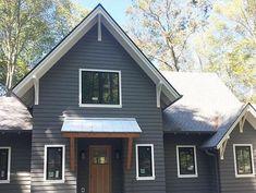 Grey Siding House, House Paint Exterior, Exterior Siding, Exterior Paint Colors, Exterior House Colors, Siding Colors, Roof Colors, Exterior Remodel, Dark Grey Houses