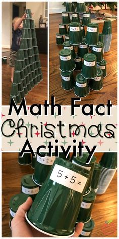 What a fun way to practice math facts and build fluency with math facts. Students stack green plastic 'Solo' type cups to create Christmas trees, while also practicing their addition/subtractions or multiplication facts. Students can write the math fact in their journal for added accountability or use mental math as they build their Christmas trees.