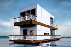 Modern architectural designs for floating houses, comfortable modern homes on the water, luxury houseboats
