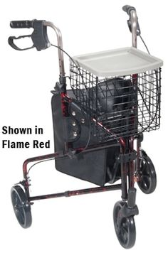 Rollator 3-Wheeled w/Pouch & Basket Loop Brake-Flame | seniorstyleliving.com