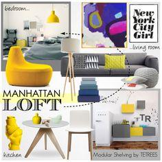 Grey & Yellow Manhattan Apartment by tetrees on Polyvore #loft #NYC #interiordesign #tetrees