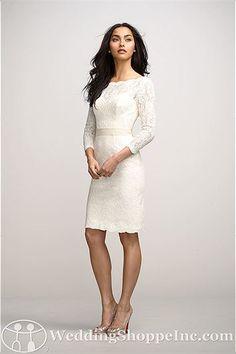 A short, sophisticated long-sleeve informal wedding dress.