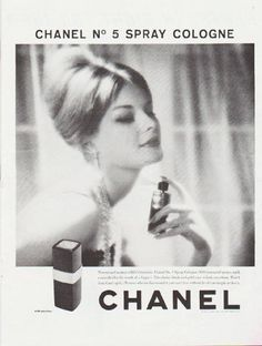 "1959 CHANEL PERFUME vintage magazine advertisement ""Chanel No. 5 Spray Cologne"" ~ Newest and neatest of life's luxuries: Chanel No."