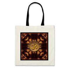 OM (Aum) Batik Fire Customizable Cotton Tote Bag | designs by Webgrrl $11.95