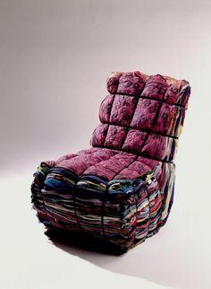 Tejo Remy & René Veenhuizen | Ragchair | Clothing rags, MDF, iron straps | 1991