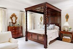 "Master Bedroom  Horizontal wood planking was added to the walls in the master bedroom and painted Farrow & Ball ""String,"" a warm ivory color..."