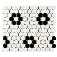 Merola Tile, Metro Hex Matte White with Flower 10-1/4 in. x 11-3/4 in. x 5 mm Porcelain Mosaic Tile (8.54 sq. ft. / case), FDXMHMWF at The Home Depot - Mobile