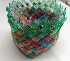 "I had fun last weekend making some little woven baskets out of 2-1/2"" batik strips. These baskets are often made out of paper such as magazines, newspaper, maps, potato chip bags etc. but I wanted to use fabric. I used..."
