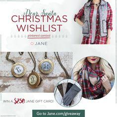 Jane.com Pinterest Contest - Christmas Wishlist - Winner Receives a $250 Jane Gift Card