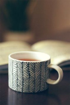 DIY Decorated Porcelain Mug | Shelterness   Take a plain mug, write with a Sharpie, then bake in the oven @ 350 for 30 minutes.