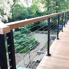 Modern Stainless Steel Cable Wire Railing For Stairs / Porch Railing . Veranda Railing, Wire Deck Railing, Outdoor Handrail, Modern Stair Railing, Balcony Railing Design, Staircase Railings, Decking Handrail, Wire Balustrade, Balustrade Balcon
