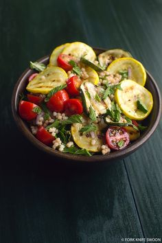 Grilled Summer Squash, Couscous and Tomato Salad - Zucchini and yellow squash with sweet grape tomatoes, fresh herbs and Israeli couscous for a super easy and refreshing summer salad.  #ChooseDreams