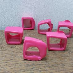 Batch of cerise square rings straight from their moulds. They need alot of love and attention before they become the finished rings. Unusual Rings, Square Rings, Resin Jewelry, Etsy Shop, Contemporary, Squares, Instagram Posts, Crafts, Pink