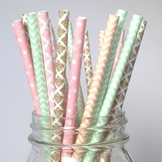 Vintage Chic Paper Straws featuring Blush Pink, Gold Damask Mint and Peach chevron. Shop our unique collection of paper straws at twigsandtwirls.com