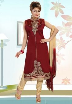 Embroidered Art Silk Straight Cut Suit in Maroon