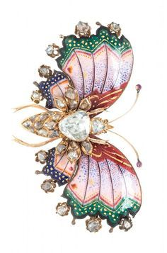 A Victorian Yellow Gold, Diamond and Polychrome Enamel Butterfly Brooch, containing one central shield shape rose cut diamond measuring approximately 8.80 x 8.75 mm and 32 additional rose cut diamonds of various shape and size, the wings accented with opaque pink, red, green, blue and yellow enamel, the brooch measuring approximately 60.00 x 38.00 mm. 12.90 dwts.