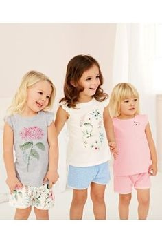 Kup Pink/Grey Flower Short Pyjamas Three Pack from Next Poland Next Clothing Kids, Children Clothes, Kid Poses, Children Poses, Matching Pjs, Flower Shorts, Grey Flowers, Girls Pajamas, Pajama Shorts