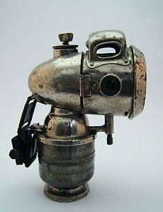 c.1920's CHROME ACETYLENE CARBIDE BICYCLE LAMP / LIGHT BY VULTURE OF BIRMINGHAM