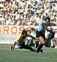 Brazil 3 Uruguay 1 in 1970 in Guadalajara. Attilio Ancheta gets away from Brito in the World Cup Semi Final.