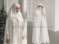 Wedding milk color suit, bridal hijab, wedding islamic suit, niqab, cloak #weddinghijab #hijab #nikkah #bridalhijab