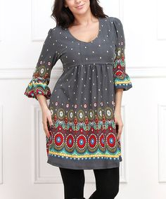 Look at this Charcoal & Red Circle Empire-Waist Dress - Plus on #zulily today!