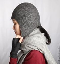 Купить Шапка шлем - шапка, шапка женская, шапка валяная, шапка зимняя, шапка из войлока