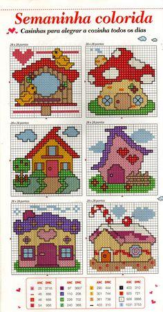 Houses Free Cross Stitch Pattern Chart