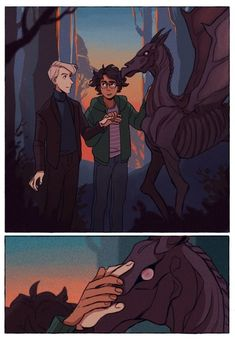 """""""Thestrals"""" Harry Potter and Draco Malfoy Fan Art Poc! Fanart Harry Potter, Harry Potter Comics, Gay Harry Potter, Mundo Harry Potter, Harry Potter Draco Malfoy, Harry Potter Ships, Harry Potter Universal, Harry Potter Hogwarts, Draco Malfoy Fan Art"""